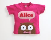 Organic Owl Personalized Baby T-Shirt, Baby Shower Gift, Baby Girl