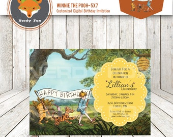 Winnie the Pooh - Birthday Party Custom Digital Invitation 5x7