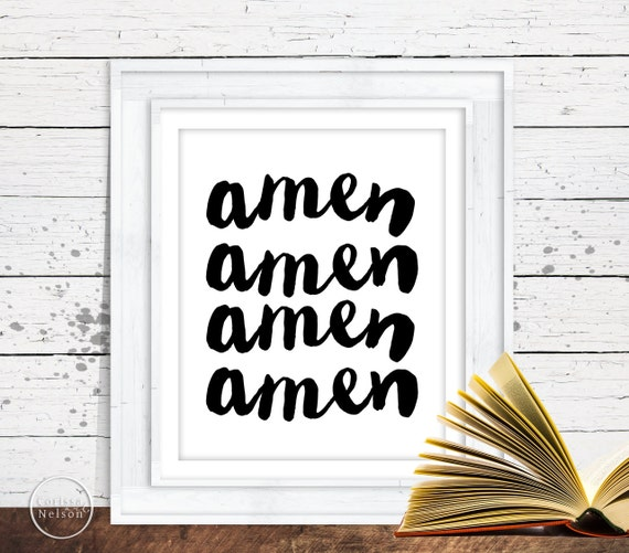 Amen Calligraphy Style Christian Prayer Printable