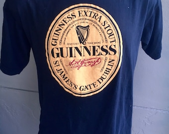 1980s Guinness Beer vintage tee shirt - black t-shirt size large