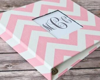 Baby Book, Baby Gift, Baby Album, Baby Memory Book, Baby Keepsake, Modern Baby Book, Baby Pink Chevron Album
