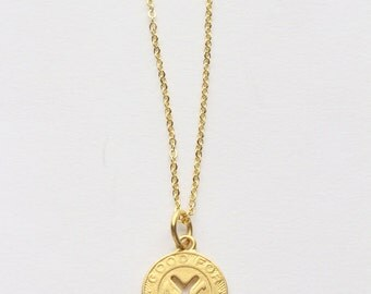 NYC Transit Token 24K Gold Necklace - New York City NY 16K chain vintage Transit Authority - good for one fare