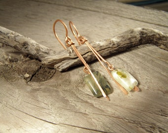 Prehnite Copper Long Earrings Dangle Boho style.