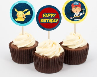 Pokémon GO Cupcake Toppers and Wrappers, Pokemon Birthday Decoration, Gamer, Birthday Cake, cupcakes, Instant Download
