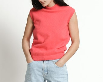 Vintage 60s  Bright Pink Sleeveless Cashmere Knit Sleeveless | M
