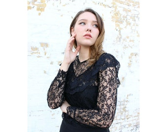 BLACK LACE Sheer Illusion  blouse  vintage femme romantic sexy