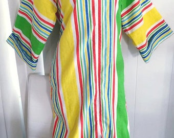 Fun Colorful Mod Vintage Front Zip House Patio Dress by I.Magnin -- Size L