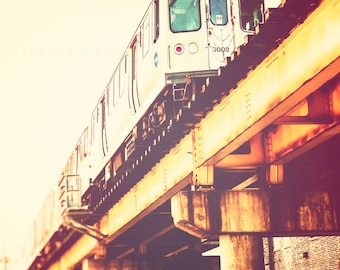 Chicago Art Print - train decor, CTA Blue Line photography - Chicago train photography, urban wall art, yellow, orange, red, teal - Blue