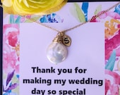 Coin natural pearl necklaces for Bridesmaid gifts, white pearl, gold fill, wire wrapped, bridesmaid jewelry, initial charms