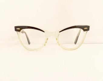 Bausch & Lomb Eyeglasses  Women's Vintage 1950's Cat Eye Translucent Clear with Black Frames  //#M273 DIVINE