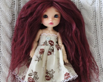 Lovely Burgundy mohair wig for Pukifee / Lati Yellow / other small doll