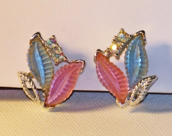 Vintage Pink and Blue Lucite Leaf Clip Earrings (E-1-6)