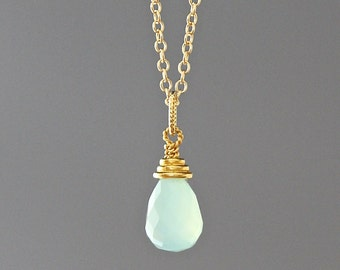 Green Chalcedony - Chalcedony Pendant - Chalcedony Necklace - Gold Vermeil Pendant - Green and Gold Pendant - Faceted Chalcedony - Gift