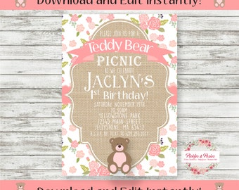 Teddy Bear Picnic Birthday Invitation - Teddy Bear Invitation - Printable Invitation - INSTANT DOWNLOAD - Edit at Home with Adobe Reader Now