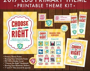 2017 LDS Primary Theme Printable Kit (Instant Download) - Choose the Right