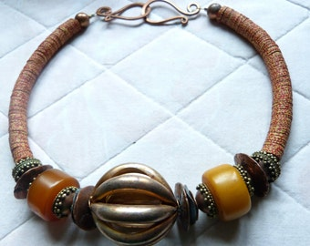 African Tribal Ethnic Necklace with African Amber and Copper