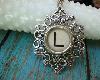 Typewriter Key - Letter L - Typewriter key Jewelry - Typewriter Necklace
