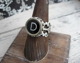 Typewriter Key Ring - Typewriter Key Jewelry - D Initial Ring - Antique Typewriter Key Adjustable Ring - Initial Ring