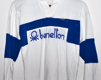 Vintage 80s BENETTON Rugby Shirt Blue & White Striped Long Sleeve Polo Mens S XS