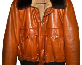 Vintage WILLIAM BARRY Fur Collar G-1 Flight Bomber Jacket Caramel Leather 40 Rare Color