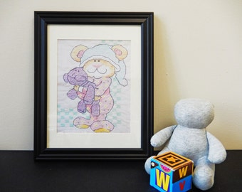 Printable Art for Nursery // Instant Download // Teddy Bear // Various Print Sizes // Nursery Room Decor // Baby Shower Gift // Cross-stitch