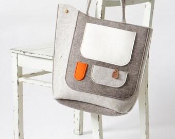 Wool Felt Pocket Handbag / Bird Felt Bag / Felt Shoulder Bag