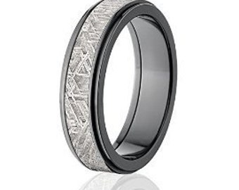6mm Wide Black Meteorite Wedding Band, Meteorite Rings Comfort Fit Band : Meteorite-Ring-6RC-Z