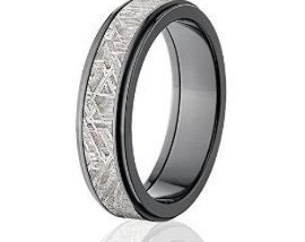 6mm wide black meteorite wedding band meteorite rings comfort fit band meteorite ring - Meteorite Wedding Ring