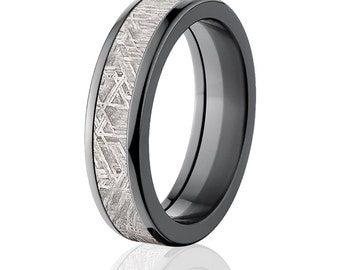 6mm Half Round Meteorite Rings & Bands, Meteorite Wedding Rings: Meteorite-Ring-6HR-Z