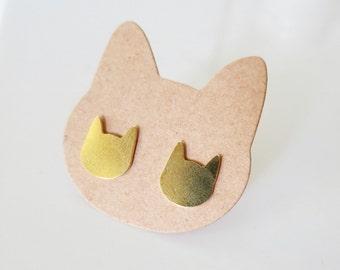 Cat Stud Earrings, Kitten Earrings,Cat Lover Gift,Cat studs,Cat Jewelry,Minimalist studs,Stocking Stuffer,Stud Earrings 10mm,Kitten studs