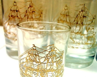 Vintage 70s Culver Clipper Ship Low Ball Full Set Drinking Glasses Barware