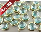 15% Bulk lot sale - lot of 16 aqua blue crystal & gold framed glass stone pendants 5031G-AQ-BULK