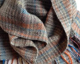 SALE - Handwoven Merino Blend Striped Multicolor Scarf // unisex / men's / women's / grey / orange / blue / yellow / purple / long / autumn