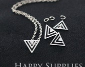 "Nickel Free - High Quality Triangle Golden / Silver Plated Brass 16"" Long Chain Necklace Set (N4)"