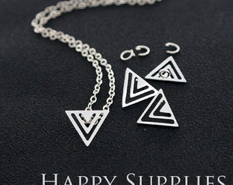 """Nickel Free - High Quality Triangle Golden / Silver Plated Brass 16"""" Long Chain Necklace Set (N4)"""
