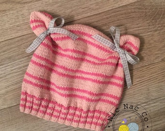 Striped spring bonnet pink, cotton, baby (18/24 months)