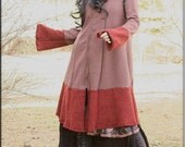 Hooded Jacket - Steampunk - Gypsy Fashion - Knee Length Coat - Burning Man - Boiled Wool - Winter Fall Clothing - A Line - Size X- Large