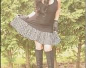 Dress - Steampunk - Bohemian Gypsy - Burning Man - Playa wear - Boho Fashion - Sexy - Short Dress - Black and White - Size Large
