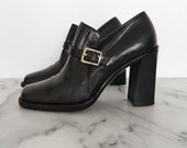 SALE // Leather Boots Made in Italy Black Buckle Thick Square Heel Cesare Paciotti Size 6.5 B