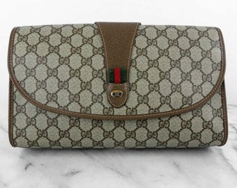 GUCCI Authentic Monogram Vinyl Brown Large Clutch Leather Purse GG Logo Bag Made in Italy