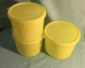 Set of 3 Large Lemon Yellow Mid Century Tupperware Round Containers/Canisters