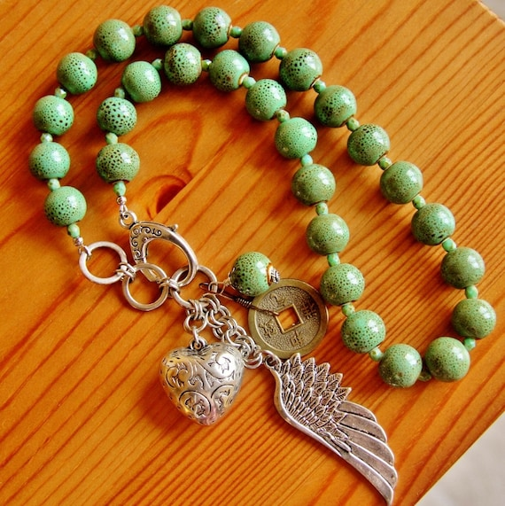 Statement charm pendant necklace large big chunky bold green boho chic funky ceramic beads angel wing puffy heart Chinese coin fun jewelry