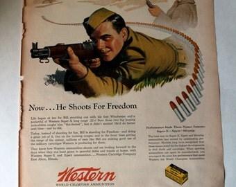 1940s Vintage Gun Advertisement. Western. World Class Ammunition. WWII Era Ad. Authentic Vintage Ad.
