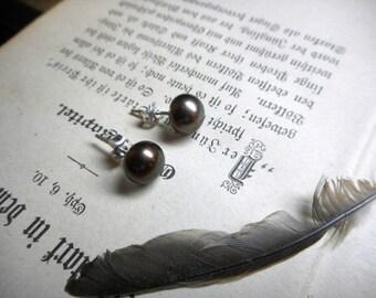 Oasis. Genuine Smoky Chocolate Brown Freshwater Pearl & Sterling Silver Post Earrings
