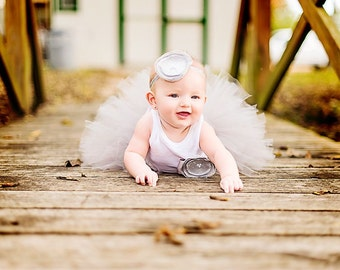 Silver Baby Tutu Dress, Gray Flower Girl Dress, Grey Dresses