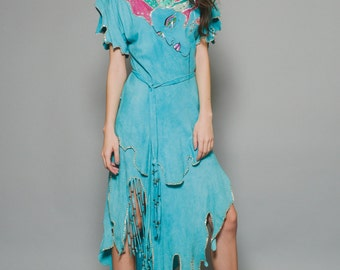 Vtg 80s Blue Suede Face Girl Fringe Beaded Snakeskin Sequin Cut Out Boho Chic Hippie Dress M