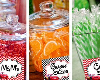 Cars Lightning Mc Queen Candy Table Buffet Label Party Printable - Stick to Your Story
