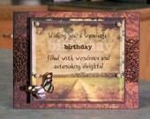 "Handmade Birthday Card - 5 1/2"" x 4 1/4"" -  Masculine or Feminine - Printed Acetate Overlay on Country Dirt Road Scene"
