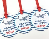 Shark Party Favor Tags, Shark Birthday Favor Tags, Shark Favor Tags, Pool Party Decorations, Shark Party Decorations - SET OF 12