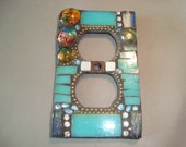 MOSAIC Electrical Outlet COVER , Wall Plate, Wall Art, Plug Cover